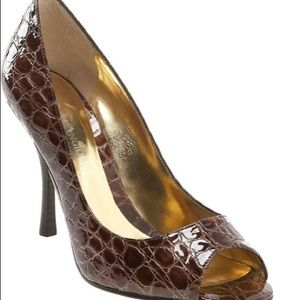 Enzo Angiolini Maylie brown patent leather 7.5 M